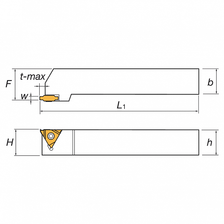 Portainserti di scanalatura esterna per inserti triangolari CGER/L KERFOLG TURN
