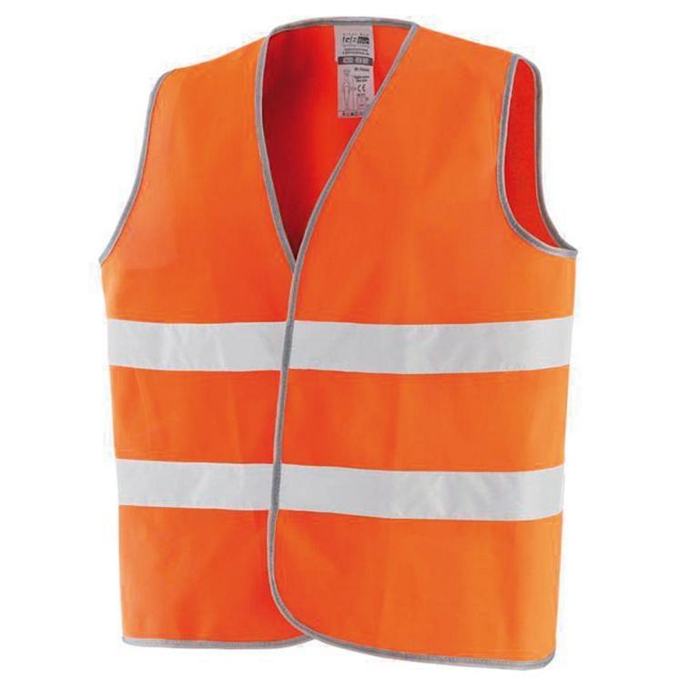 High visibility orange vest in polyester