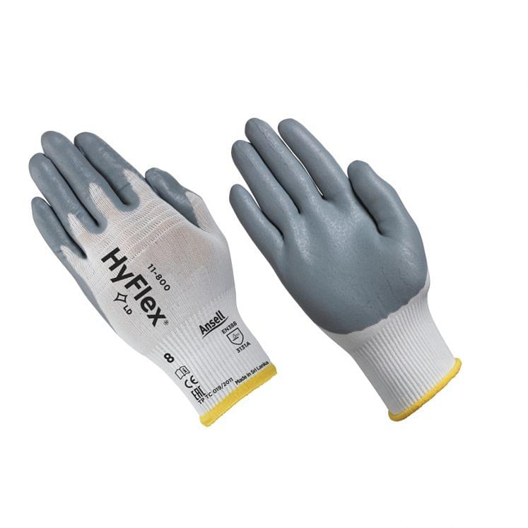 Work gloves in continuous nylon thread coated with nitrile foam ANSELL 11-800
