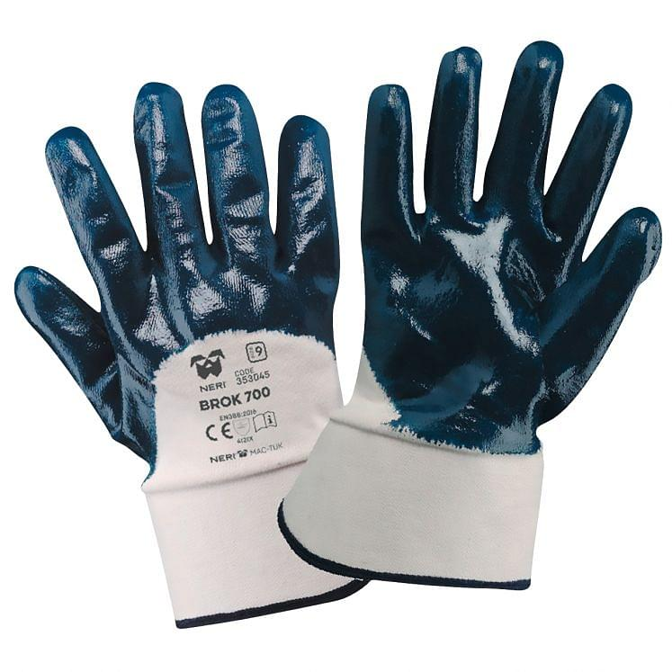 Work gloves in fabric double NBR coated