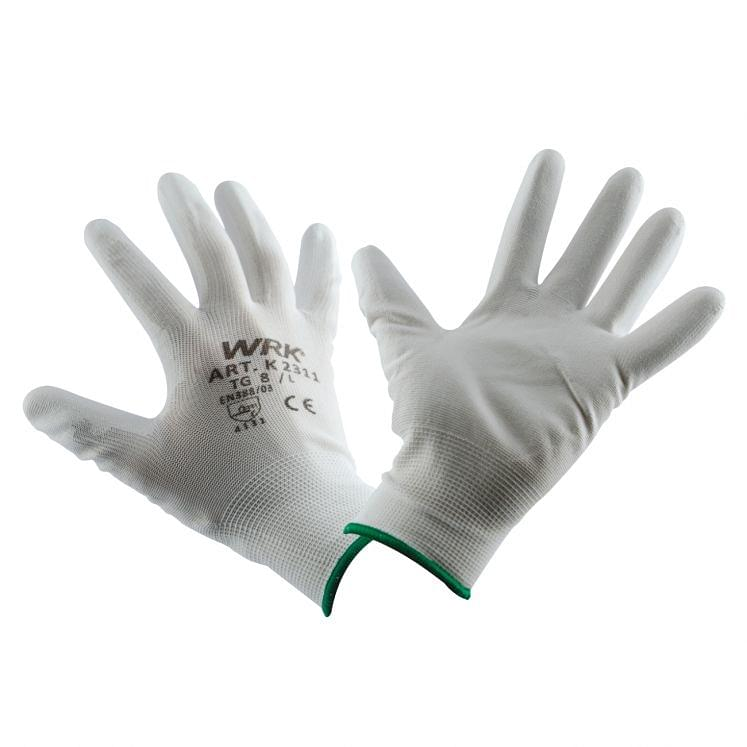 Work gloves in polyester coated in white polyurethane WRK