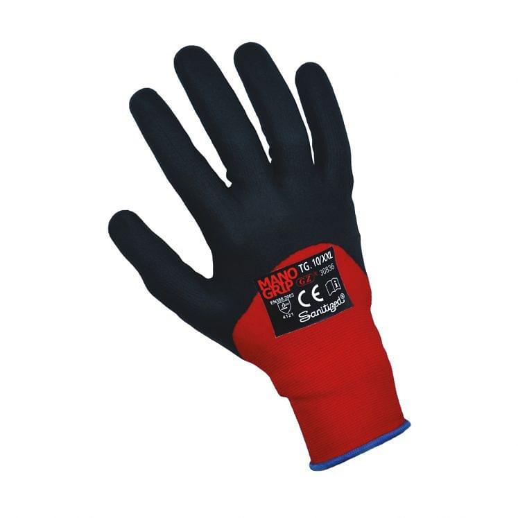Work gloves in nylon/spandex with 3/4 in nitril foam sanitized