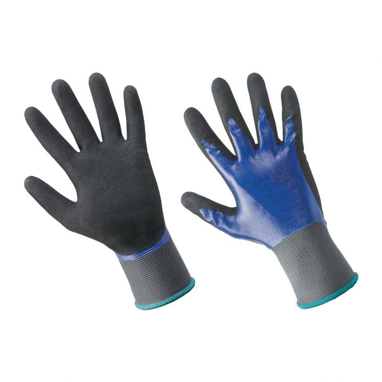 Work gloves in nylon coated with microporous nitrile