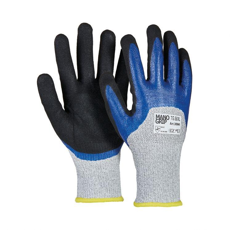 Cut-resistant gloves in fibre with 3/4 double nitrile coating