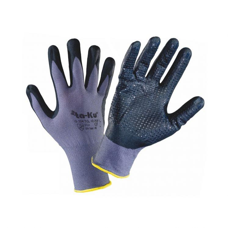 Work gloves in continuous nylon thread coated with textured nitrile