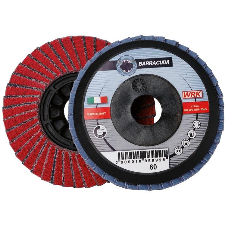Flap grinding discs with plastic backing in zirconium and ceramic abrasive cloth WRK BARRACUDA PLASTICA