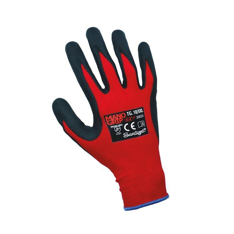 Work gloves in nylon/spandex with 2/4 in nitril foam sanitized