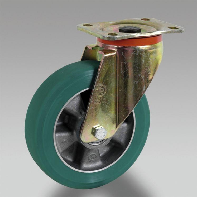 Polyurethane wheels with cast aluminium centre with support TELLURE RÔTA TR-ROLL