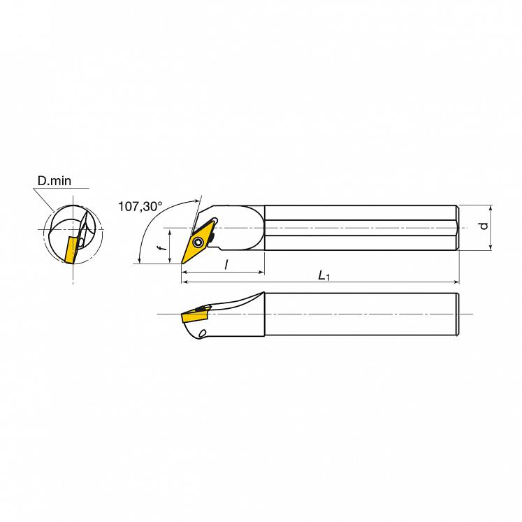 KERFOLG TURN, Wendeplattenhalter für die Innendrehbearbeitung, für positive Wendeschneidplatten, Form V - A….SVQBR/L