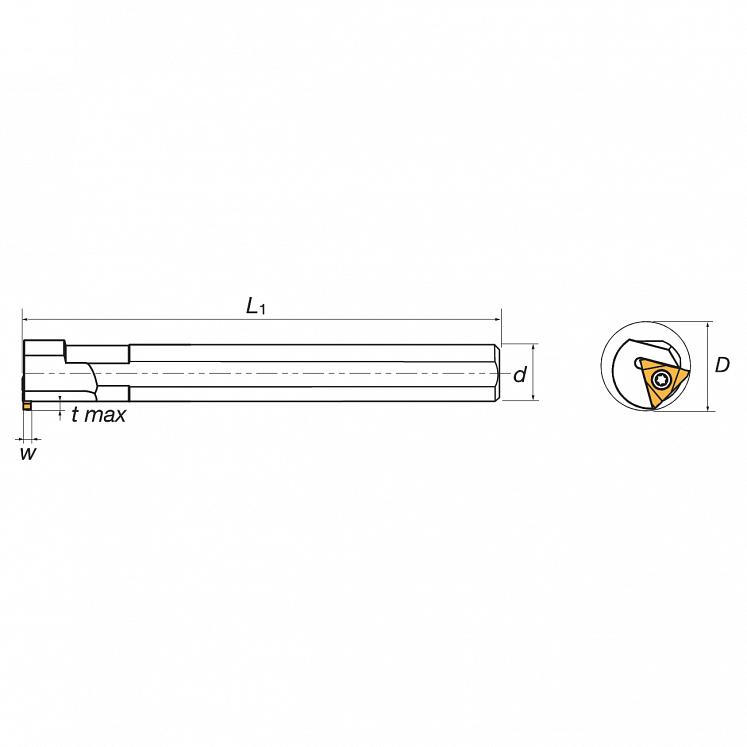 KERFOLG TURN, Stechdrehhalter für Dreikant-Wendeschneidplatten R/L, für Innennuten