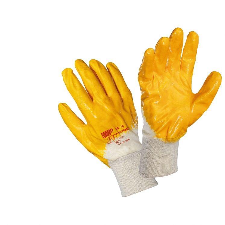 Arbeitshandschuhe, aus NBR-imprägniertem Stoff in Gelb