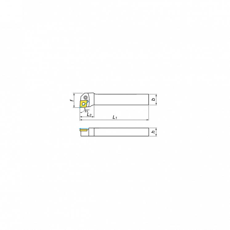 KERFOLG, Wendeplattenhalter für die Außendrehbearbeitung mit Schmierung, für negative Wendeschneidplatten - Form C - PCLNR/L