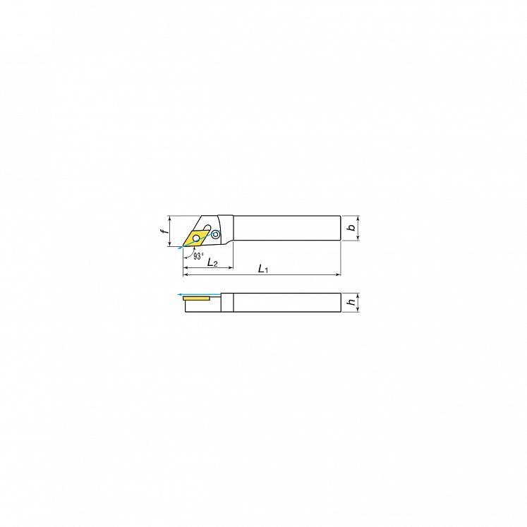 KERFOLG, Wendeplattenhalter für die Außendrehbearbeitung mit Schmierung, für negative Wendeschneidplatten - Form D - PDJNR/L