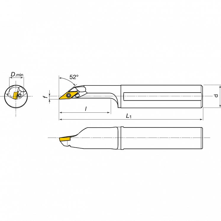 KERFOLG TURN, Wendeplattenhalter, für die Innendrehbearbeitung, für positive Wendeschneidplatten, Form V - AH….SVJCR/L