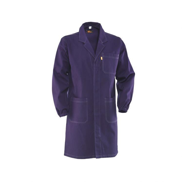 Arbeitskittel in Blau, aus sanforisierter Baumwolle
