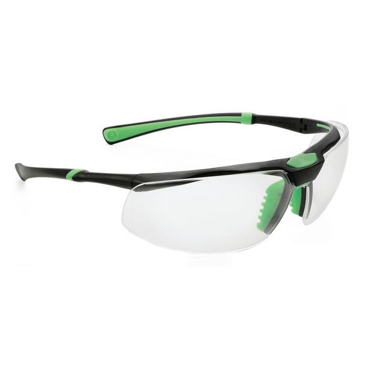 Schutzbrille, mit grün/schwarzem Gestell
