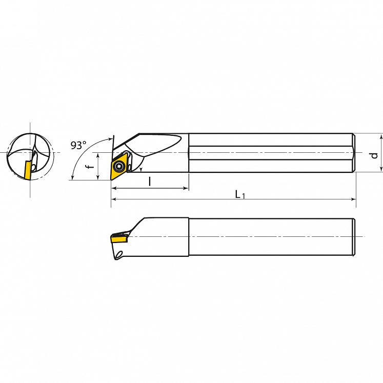 KERFOLG TURN, Wendeplattenhalter für die Innendrehbearbeitung, für positive Wendeschneidplatten, Form D - E….SDUCR/L