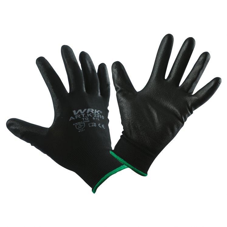 WRK, Arbeitshandschuhe aus Polyester, mit Polyurethanbeschichtung in Schwarz