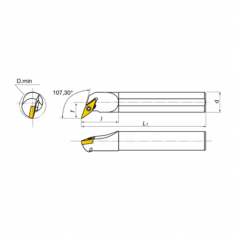 Portaherramientas para torneado interior para plaquitas positivas KERFOLG TURN - Forma V - A….SVQBR/L