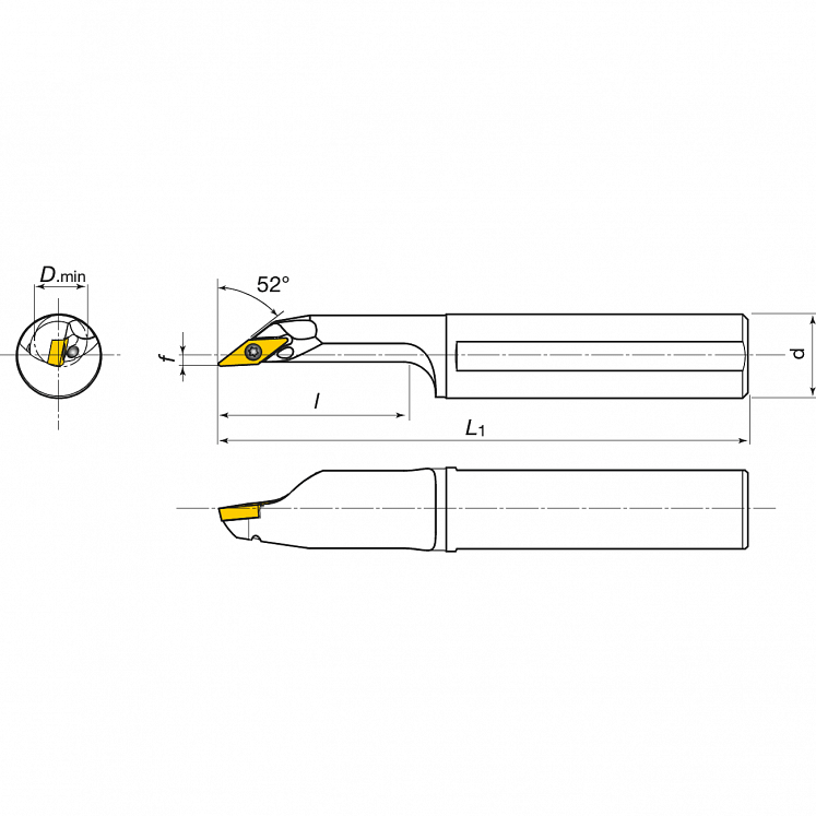 Portaherramientas para torneado interior para plaquitas positivas KERFOLG TURN - Forma V - AH….SVJCR/L