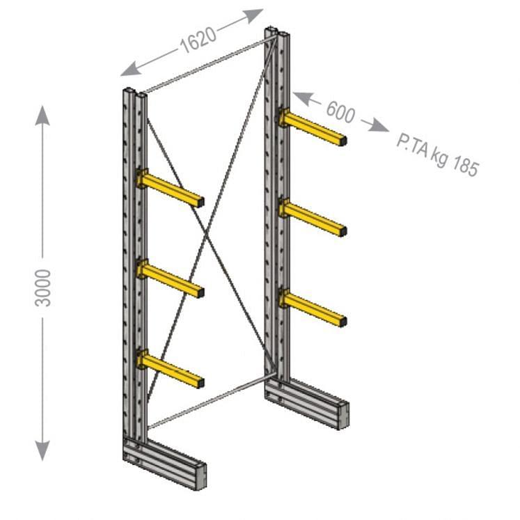 Estantería Cantilever 2 columnas monofrontales