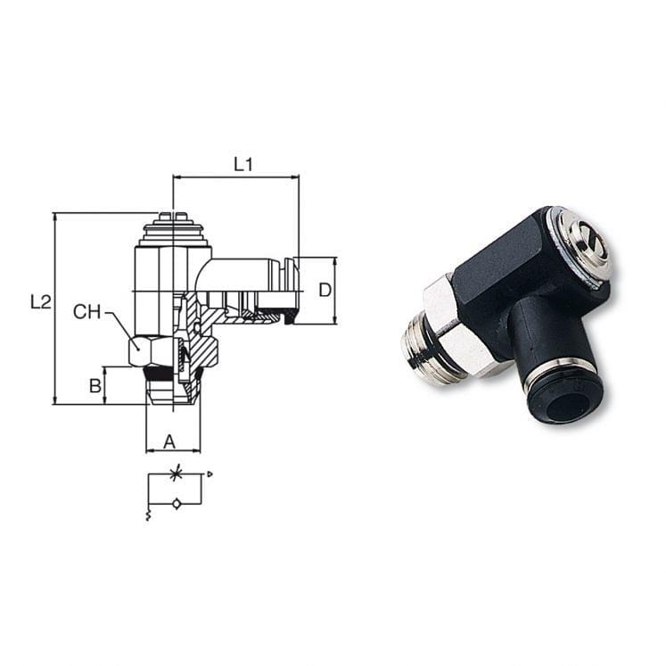 Reguladores unidireccionales orientables de latón niquelado para cilindros AIGNEP 55900