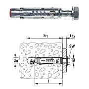 Tacos para cargas semipesadas TA M-S con tornillo de cabeza hexagonal 8.8 galvanizada FISCHER Máquinas y herramientas de taller 33529 0