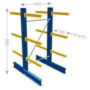 Estantería cantiléver andquot;Pandquot; de IPE serie pesada bifrontal Mobiliario y colectores para taller 21312 0