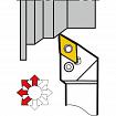 Portaherramientas para torneado exterior con lubricación para plaquitas negativas KERFOLG - Forma D - PDJNR/L