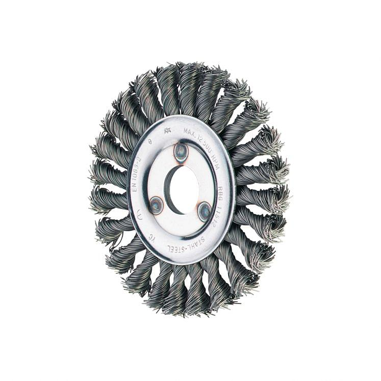 Wheel brushes with hole and twist knotted wire PFERD