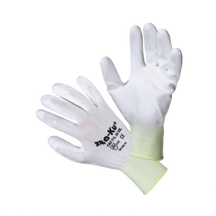 Work gloves in nylon coated in polyurethane white