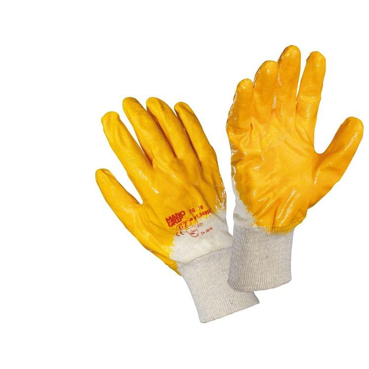 Work gloves in fabric coated in yellow NBR