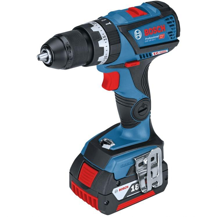 Cordless screwdriver drills with battery percussion 18V BOSCH GSB 18V-60 C PROFESSIONAL