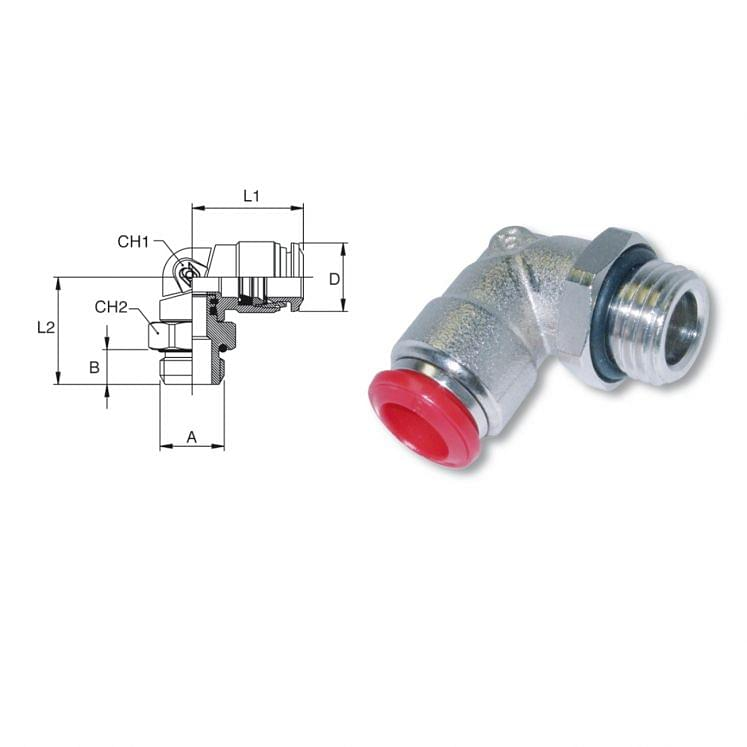 Adjustable male push to connect L fittings in nickel-plated brass AIGNEP 50116