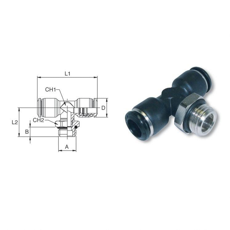 Adjustable male pusht to connect T fittings in nickel-plated brass AIGNEP 55216
