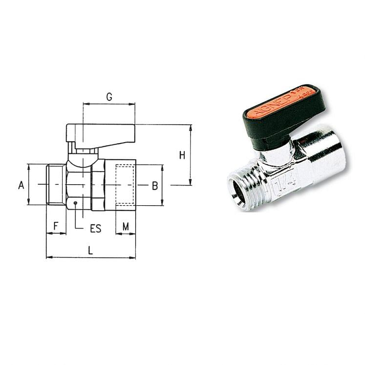 Male/female cylindrical thread ball valves AIGNEP 6410