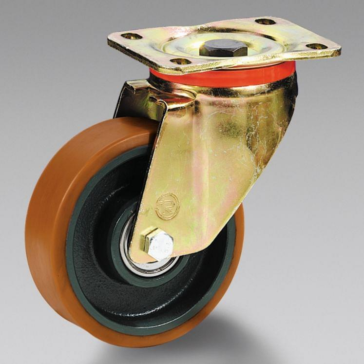 Polyurethane wheels with cast iron centre with support TELLURE RÔTA