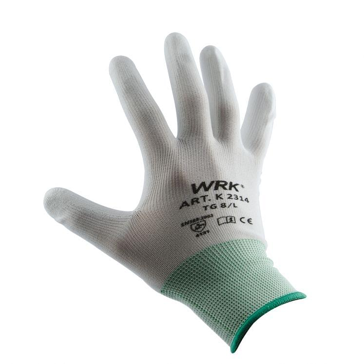 Work gloves in nylon coated in polyurethane WRK