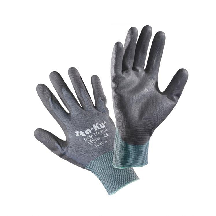 Work gloves in nylon coated in polyurethane grey
