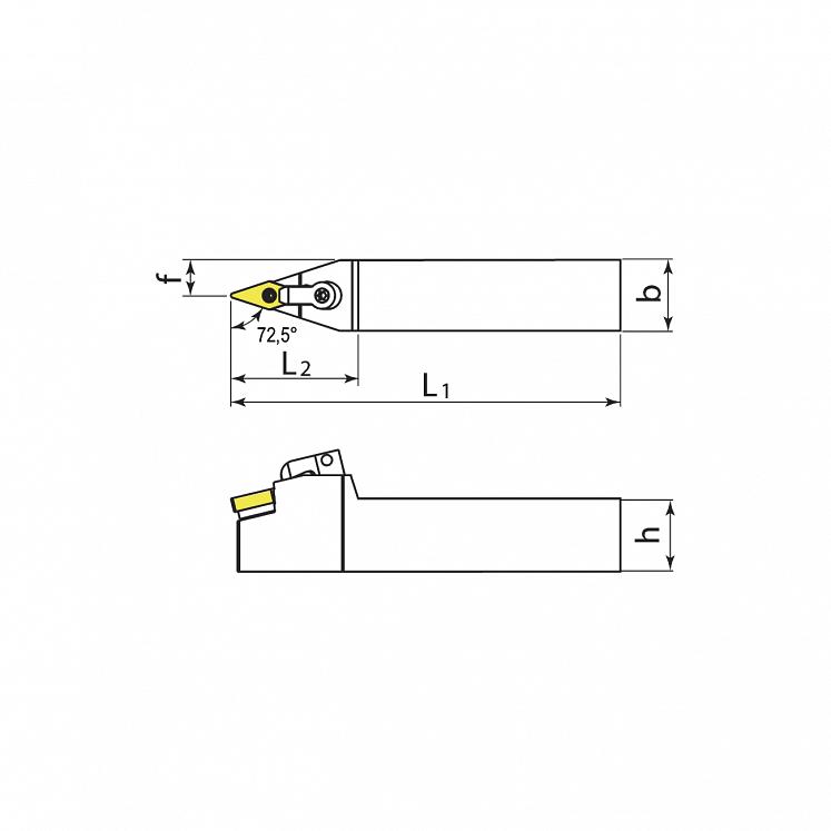 External turning toolholders for negative inserts KERFOLG TURN formV - MVVNN