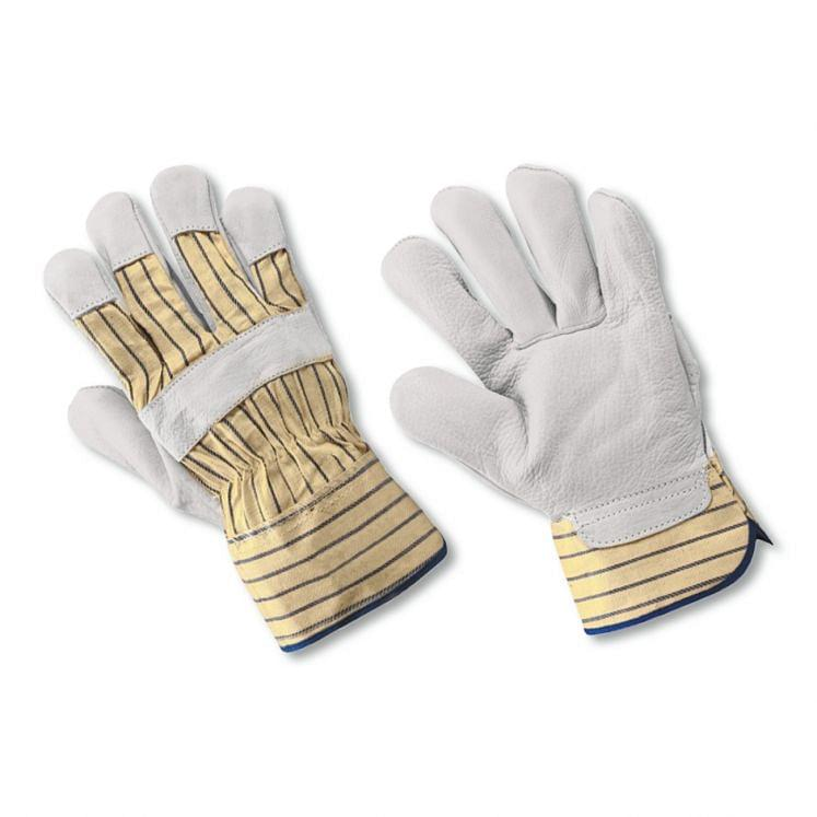 Work gloves in grain cowhide leather and canvas