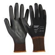 Work gloves in nylon coated in black polyurethane
