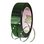 Heat sealable plastic straps in polyroylene PET green knurled Workshop equipment 244944 0